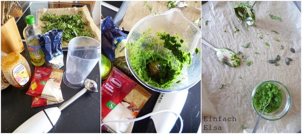 Herstellung Rocula-Pesto
