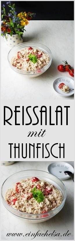 Einfacher Reissalat mit Thunfisch und Tomaten für die Arbeit, im Büro oder wenn es zu Hause schnell gehen muss - Büro Essen, Arbeit Essen, einfacher Salat, schnelles Essen
