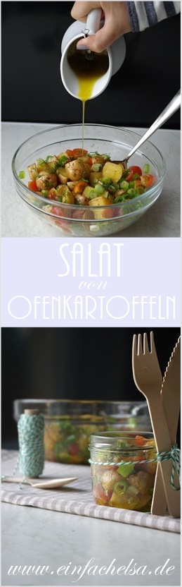 Einfacher und schneller Salat von Ofenkartoffeln - perfekt für das Picknick und auch zur Resteverwertung