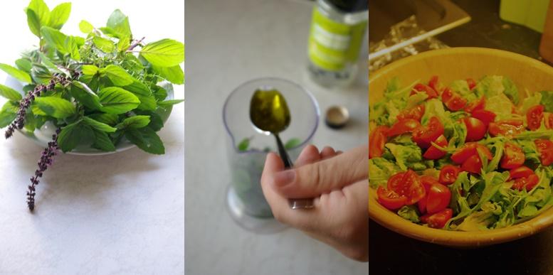 Herstellung-Vinaigrette-Basilikum-und-Salat