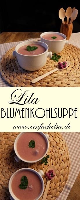 Lila Blumenkohlsuppe mit Kokosmilch und Muskat