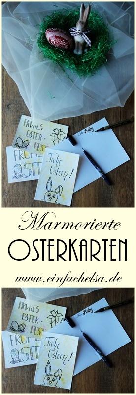 Osterkarten mit Rasierschaum marmorieren - Karten für alle Anlässe mit Rasierschaum und Lebensmittelfarbe marmorieen