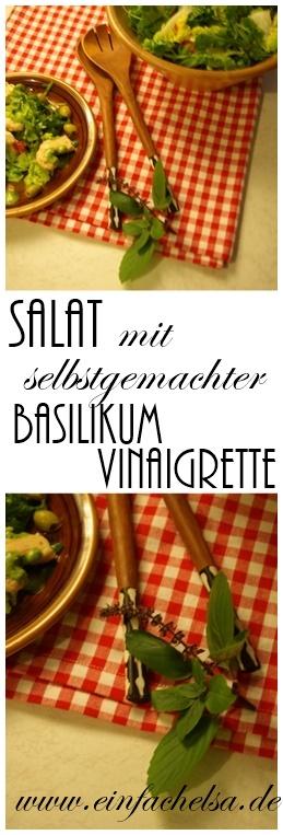 Salat Dressing mit Basilikum und Thymian, frischen Kräutern und Öl - Salat mit selbst gemachtem Dressing und Hähnchenbrust - Basilikum Vinaigrette.Rezept