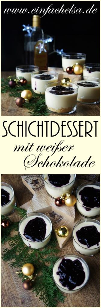 Schokoladen Schichtdessert mit Heidelbeeren und weißer Schokolade als weihnachtlicher Nachtisch