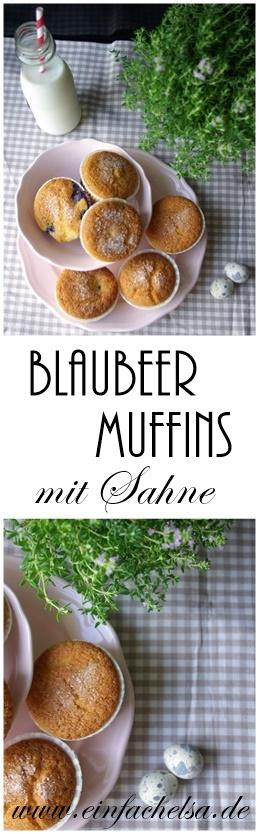 Selbstgemachte Blaubeermuffins mit Sahne, Natron und Apfelessig - luftig, leicht und perfekt auf die Hand